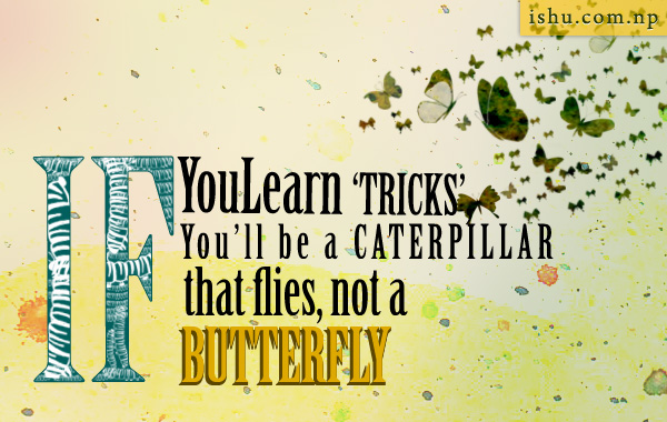 If you learn tricks you'll be a caterpillar that flies not a butterfly - life quotes
