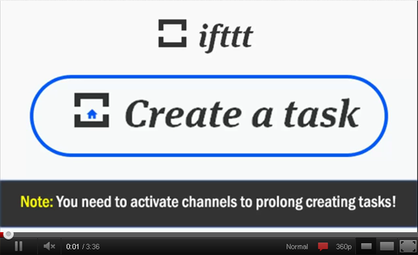 How to create a task and a recipe in ifttt