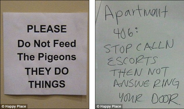 Hilarious notes left on troublesome neighbours' doors