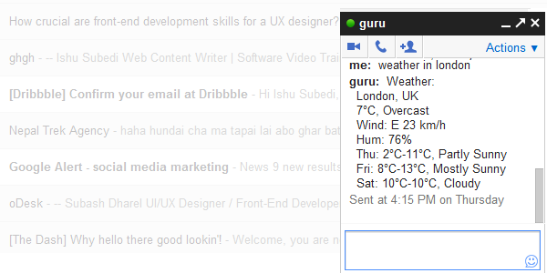 Search for queries with Google Talk Guru