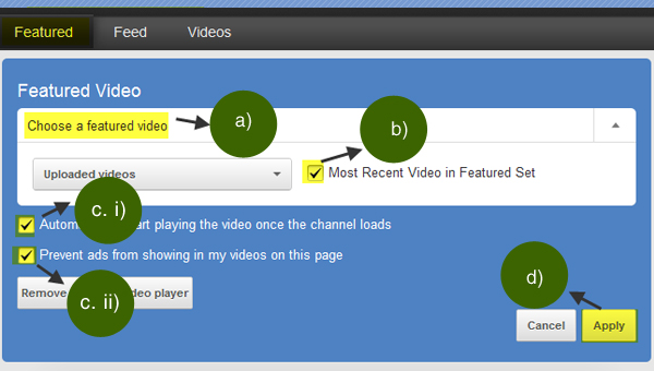 Applying the settings to enable the featured video