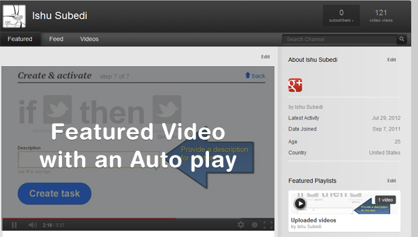 Your featured video with an auto play