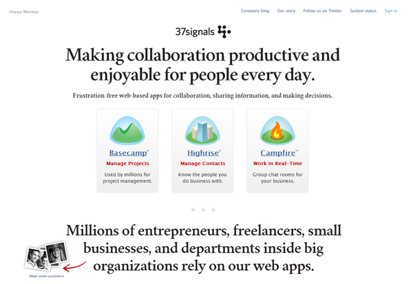 37signals - most beautifully designed website